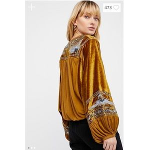 Free People Hearts Aflame Velvet Embroidered Top
